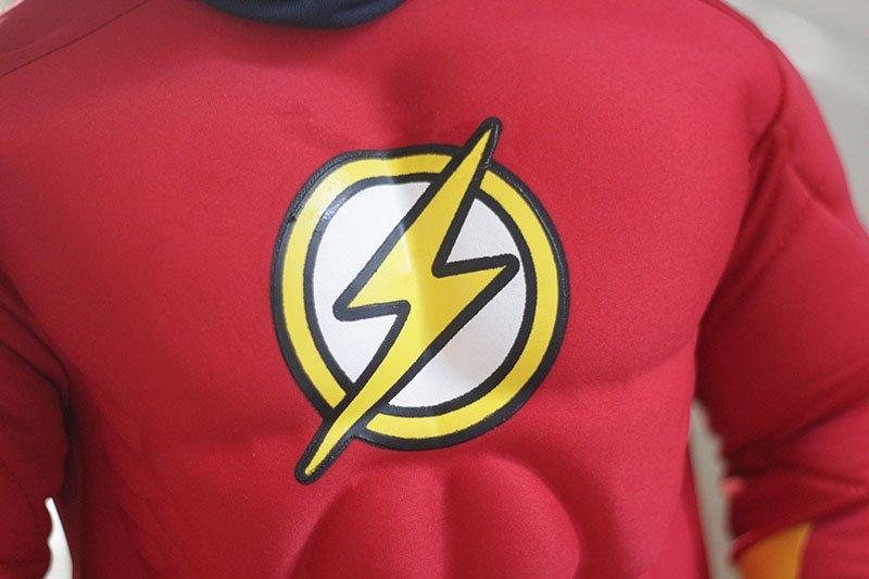 Costume di carnevale per bambini flash simbolo sul petto