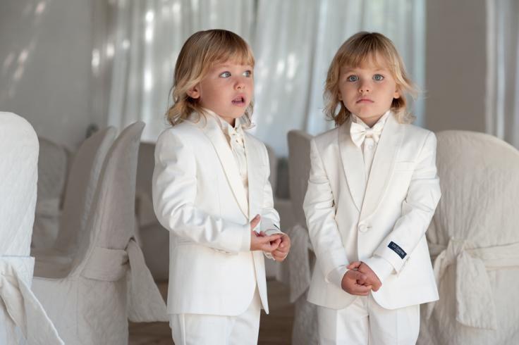 Abito cerimonia bianco bimbi gemelli